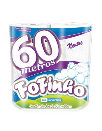 PAPEL HIGIÊNICO FOFINHO FOLHA SIMPLES 16UN DE 4 ROLOS COM 60M CADA