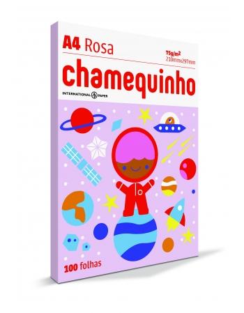 PAPEL CHAMEQUINHO A4 ROSA 25 CAIXA COM 100
