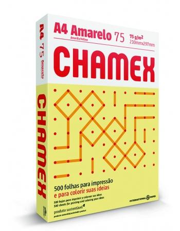 PAPEL CHAMEX COLORS A4 AMARELO 10 CAIXA COM 500 FLS